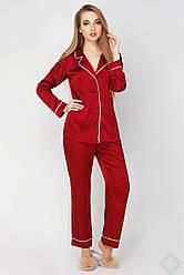 Шелковая пижама Кристи бордовая