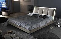 Мягкая двуспальная кровать с подсветкой на высоких металлических ножках TODAY фабрика Eko Divani (Италия)