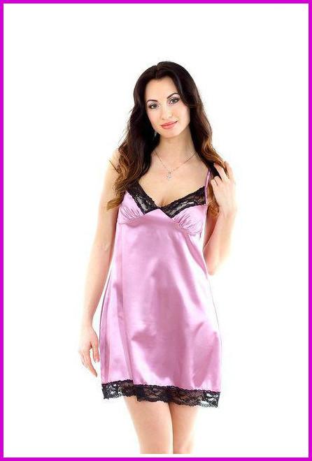 Ночная розовая рубашка атлас + кружево-стрейч