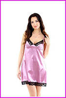Ночная розовая рубашка атлас + кружево-стрейч , фото 1