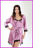 Ночной розовый халат атлас + кружево-стрейч