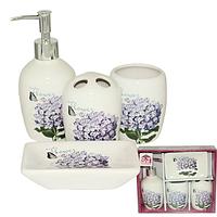888-06-003 Набор 4предмета (мыльница, подставка для зубных щеток, стакан, диспенсер для мыла)  'Сирень'