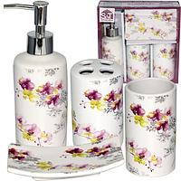 888-06-007 Набор 4предмета (мыльница, подставка для зубных щеток, стакан, диспенсер для мыла) 'Орхидея'