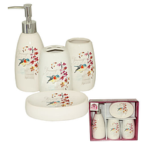 888-06-009 Набор 4предмета (мыльница, подставка для зубных щеток, стакан, диспенсер для мыла) 'Птичка'