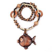 Женщины Мода Ювелирные изделия Ocean Winds Стиль Деревянные Big Fish Bead Pendant Necklace загар