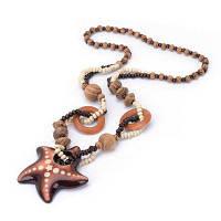 Женщины Vintage Bohemian National Wind Ocean Starfish Wood Bead Pendant Necklace Fashion Jewelry День рождения подарок Воротник загар