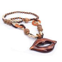 Женщины Девушки Богемия Стиль Дерево Губы Длинный свитер цепи подвеска ожерелье Мода ювелирные изделия загар