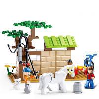 Sluban Building Blocks Обучающая детская игрушка Уход за лошадьми Station of Town 110PCS разные цвета