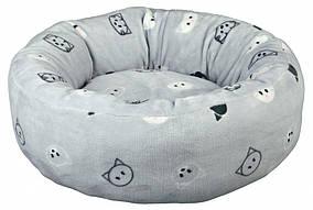 Лежак Trixie Mimi плюш и нейлон, серый с рисунком, 50 см