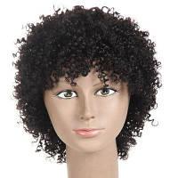 Наклонный взрыва короткий пушистый кудрявый кудрявый синтетический парик натуральный черный