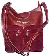 Клатч-сумочка на плечо из нат.замши (бордо)27*28см