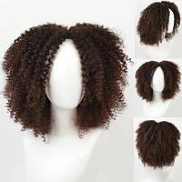 Короткий центр Расставание Лохматый афро кудрявый синтетический парик Шоколад