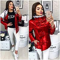 Женская демисезонная куртка (арт 1001) цвет красный + серебро
