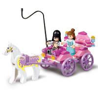Sluban строительные блоки образовательные детские игрушки Принцесса перевозки друзьями 99ШТ Розовый