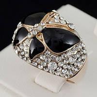Великолепное кольцо с кристаллами Swarovski, покрытое слоями золота 0711