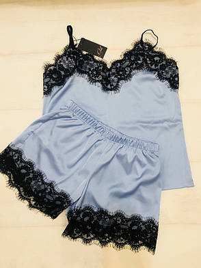 Голубая шелковая пижама  ТМ Orli, фото 2