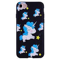 Blue Unicorn телефон чехол для iPhone 7 мультфильм Рельеф мягкий силиконовый чехол чехол для защиты телефона сумка с подставкой Чёрный