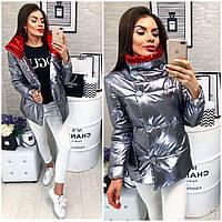 Женская демисезонная куртка (арт 1001) цвет графит металик + красный