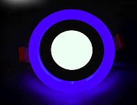 Светодиодный светильник синей подсветкой 12+4W LM497 4500K круг, фото 1