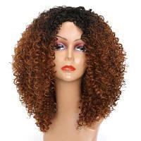 Средний центр расставания Colormix Лохматый кудрявый кудрявый синтетический парик 14дюймов