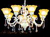 Большая классическая люстра с стеклянными плафонами