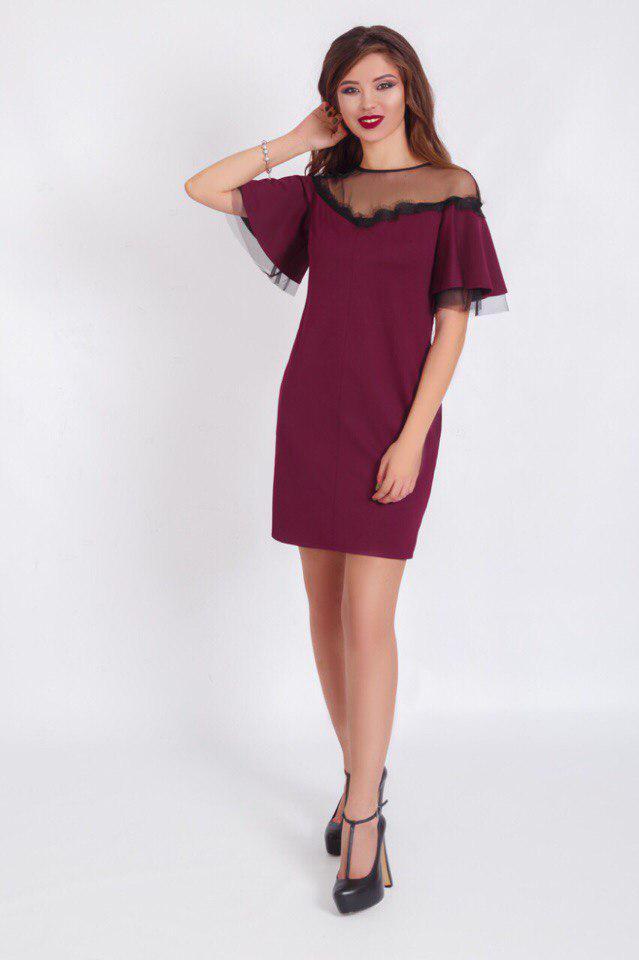 Стильное свободное платье с карманами+кружево.