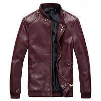 Мужская повседневная повседневная простая зимняя осень кожаная куртка с твердой подставкой с длинным рукавом Regular PU M