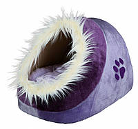Домик-пещера Trixie Minou Cuddly Cave плюшевая, фиолетовая с меховой опушкой, 35х26х41 см