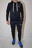 Мужской спортивный костюм Reebok (кофта с капюшоном, штаны на манжетах) - темно-синий