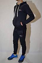 Мужской спортивный костюм Reebok (кофта с капюшоном, штаны на манжетах) - темно-синий, фото 3