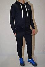 Мужской спортивный костюм Reebok (кофта с капюшоном, штаны на манжетах) - темно-синий, фото 2