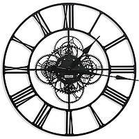 Настенные часы в стиле лофт металлические большие римские цифры Weiser BERLIN (60 см) [Металл]