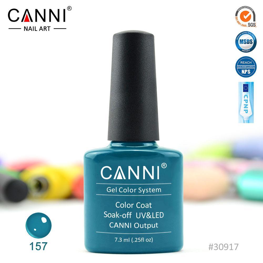 Гель-лак Canni 157 темно-синяя бирюза 7.3ml