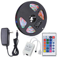 HML 5м 24Вт RGB 2835 SMD 300 светодиодов водонепроницаемая светодиодная полоса с 24 клавишным пультом дистанционного управления и американским