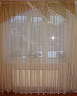Ламбрекен Уголки коричневые с песочным с бахрамой