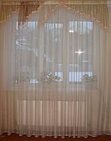 Ламбрекен Уголки полосочка коричневые  с бахрамой, фото 1