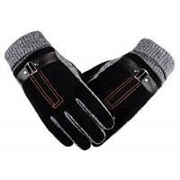 Мужское зимнее утолщение и шерстяные теплые свиные кожаные перчатки Кожаные верховые перчатки 28x10x29cм