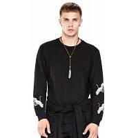 Мужская футболка Casual Comfy Шикарная вышивка с длинным рукавом XL
