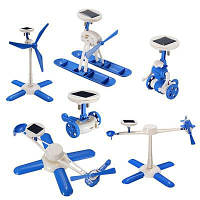 6 в 1 DIY Наука Образование Солнечная энергия Игрушки Kit Робот Самолет Ветряная мельница Воздушный корабль Вертолет Цветной