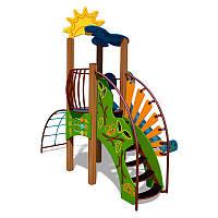 Детский игровой комплекс Ручеек (канатная лестница и ограждение с пазлом) InterAtletika