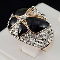 Великолепное кольцо с кристаллами Swarovski, покрытое слоями золота 0711 17 Черный
