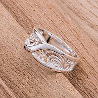 Кольцо женское покрытие серебро код 1376