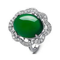 Новые большие 925 серебряных овальных натуральных нефритовых колец для женщин Серебряные женские обручальные кольца Jade Размер 15 * 13 MM RWD849