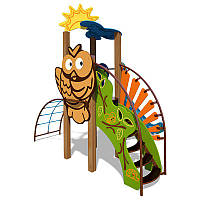 """Детский игровой комплекс Ручеек (канантная лестница и декоративная панель """"Сова"""") InterAtletika"""