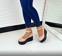 Женские туфли с ремешком ПУДРА на черной платформе натуральная кожа