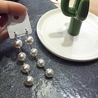 Серьги с жемчугом ювелирная бижутерия посеребрение 1750н-б