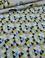 Ткань. Хлопок с голубыми и горчичными треугольниками 1см. Отрез 50х40см