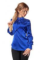 Атласная женская офисная блузка цвета электрик р.42,44,46,48,50