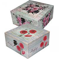 740-026 Шкатулка Роза,мак 20х20х10 см
