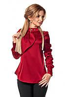 Бордовая женская аталасная блузка с длинным рукавом р.42,44,46,48,50